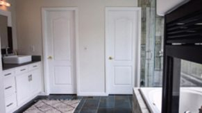 Twin closets done by Complete Home Care, a bathroom remodeling company in Boca Raton, FL.