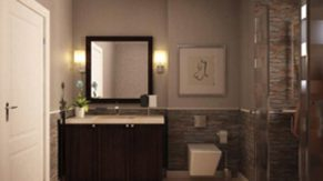 A vanity sink and bathroom done by Complete Home Care, a bathroom remodeling company in Boca Raton, FL.