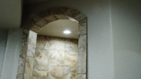 A bathroom arch detail, done by Complete Home Care, a bathroom remodeling company in Boca Raton, FL.