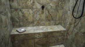 Marble details done by Complete Home Care, a bathroom remodeling company in Boca Raton, FL.