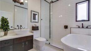 Bathroom sink, cabinets, and shower details by bathroom remodeling contractors, Complete Home Care.